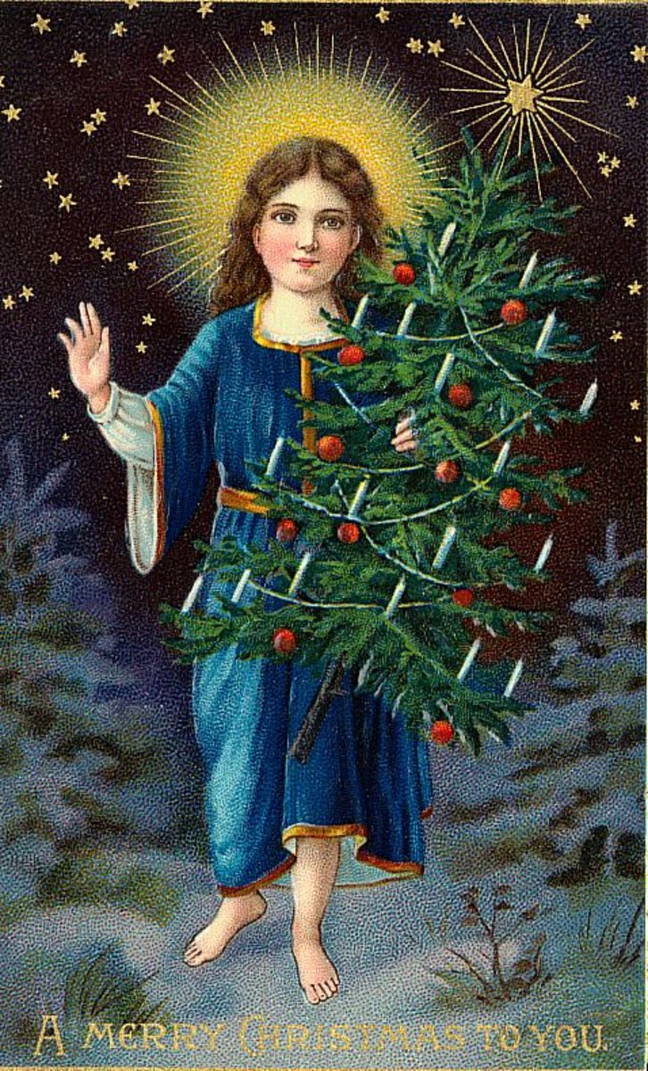 Vintage angel with halo and Christmas tree