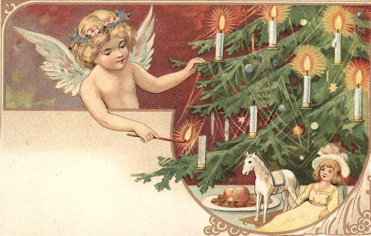 Vintage angel Christmas card: Christmas tree