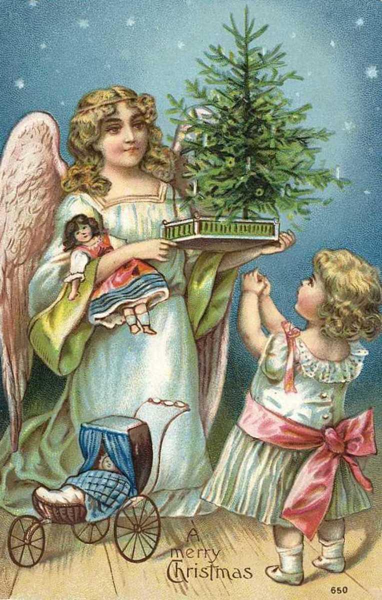 Vintage Anjo do Natal com árvore de Natal, boneca carrinho de boneca e menina