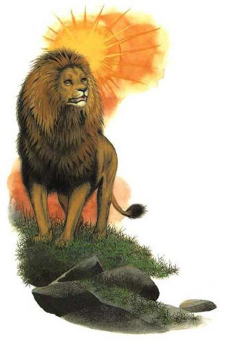 ASLAN PAINTED BY PAULINE BAINES, ILLUSTRATOR