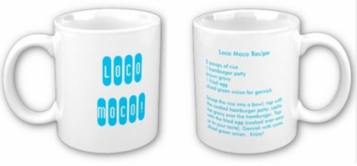 Loco Moco Recipe on a Mug - Aqua