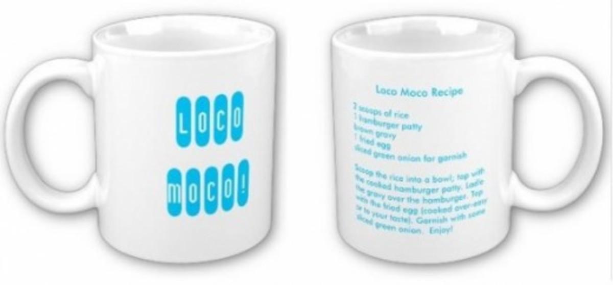 Loco Moco Recipe on a Mug - Aqua