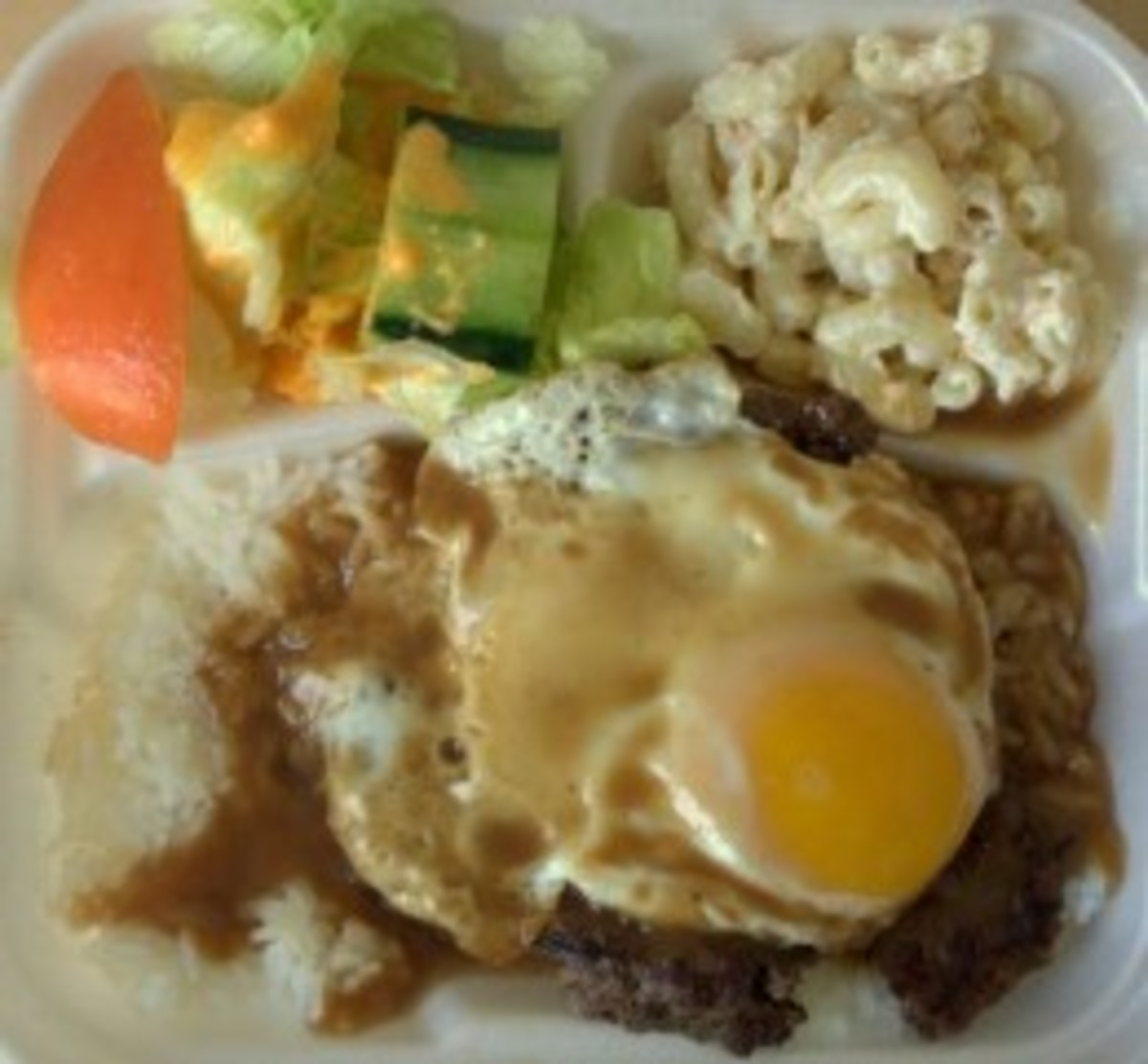 Loco Moco with a scoop of Macaroni Salad on the side
