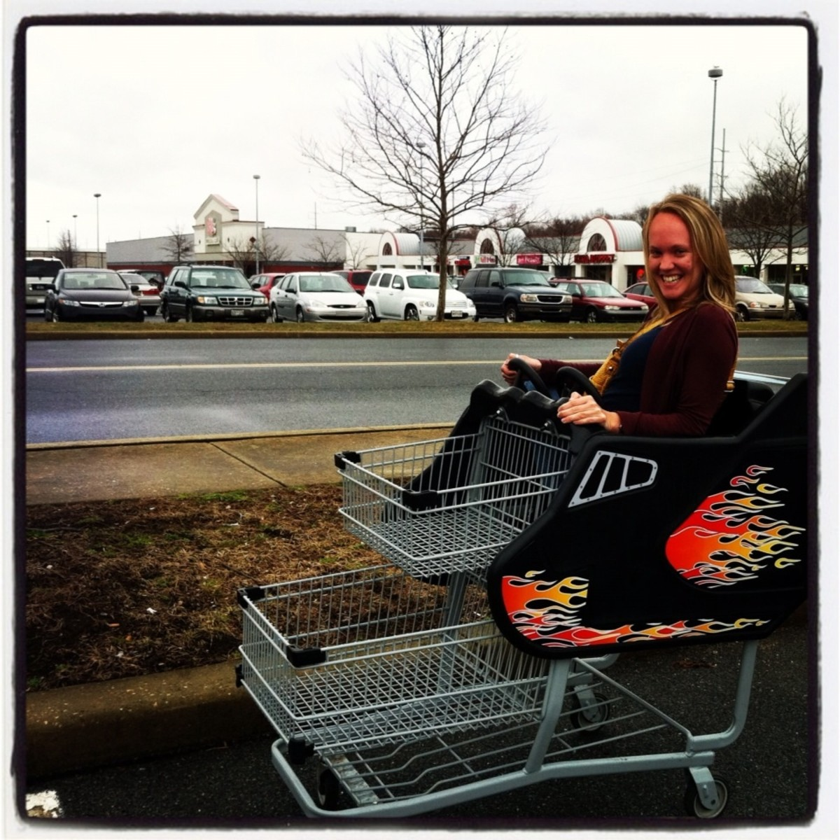 I simply couldn't pass up a photo op with a flaming grocery cart
