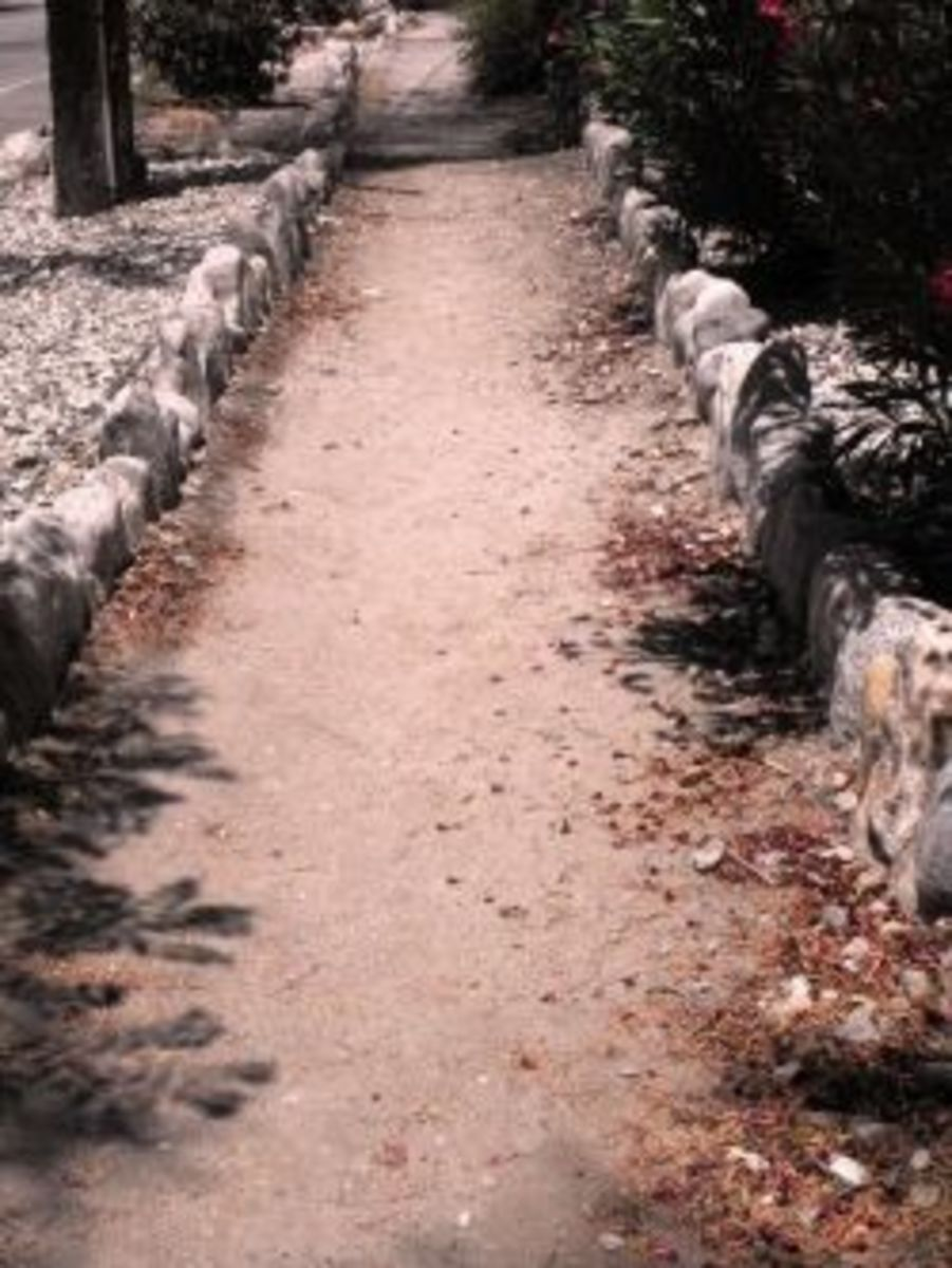 Stone lined neighborhood sidewalk, Russian Village, Claremont, CA