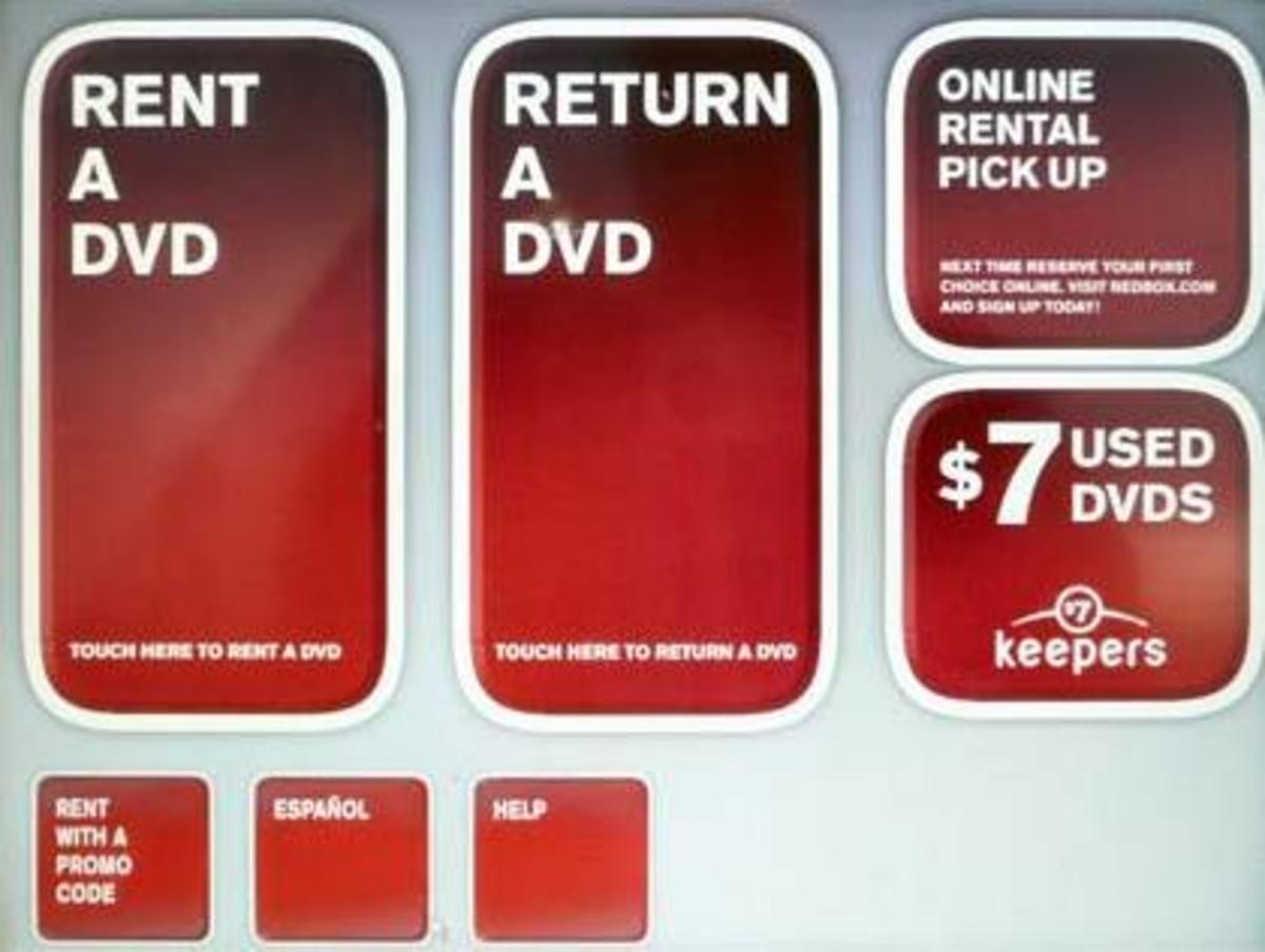 Screen shot of Redbox Kiosk