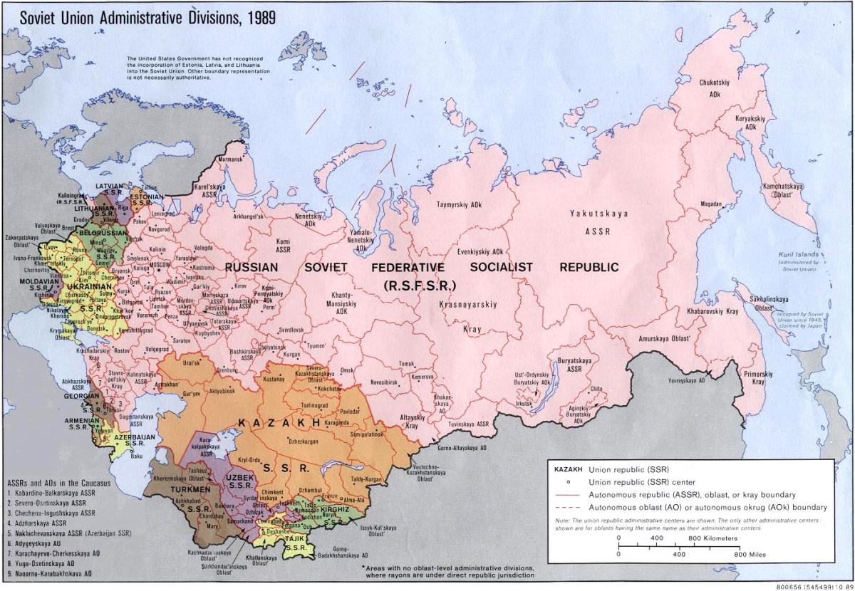 MAP OF SOVIET UNION