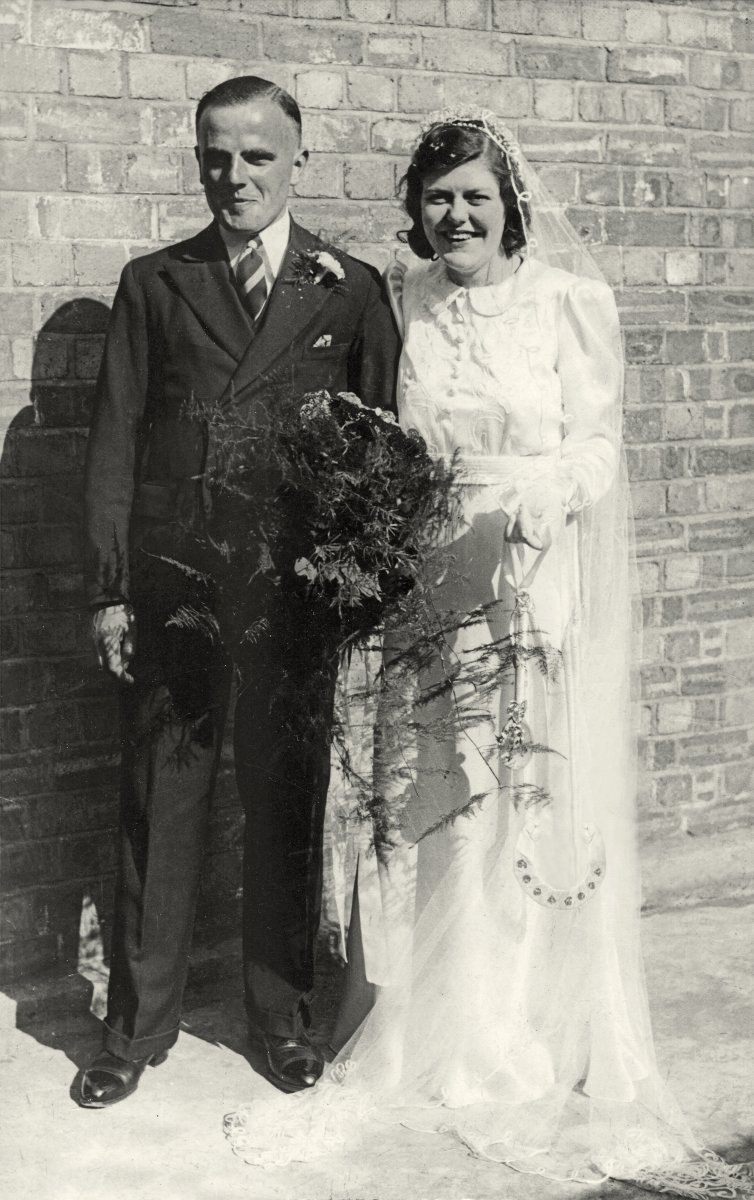 This is mum and dad on their wedding day in August 1940. This is the only photographic record of this event.This photograph was damaged but Paul a fellow hubber from Tamworth very kindly restored this photo for me.