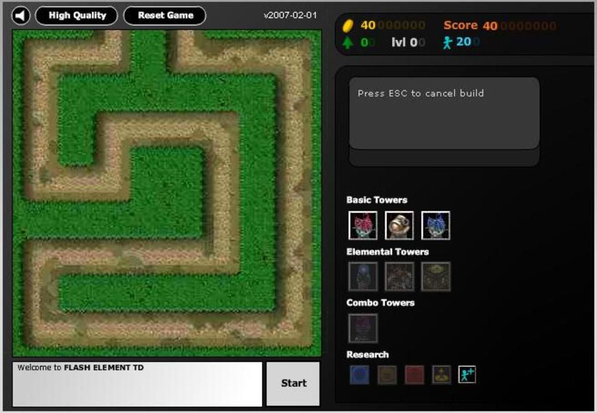 The interface for Flash Element TD.