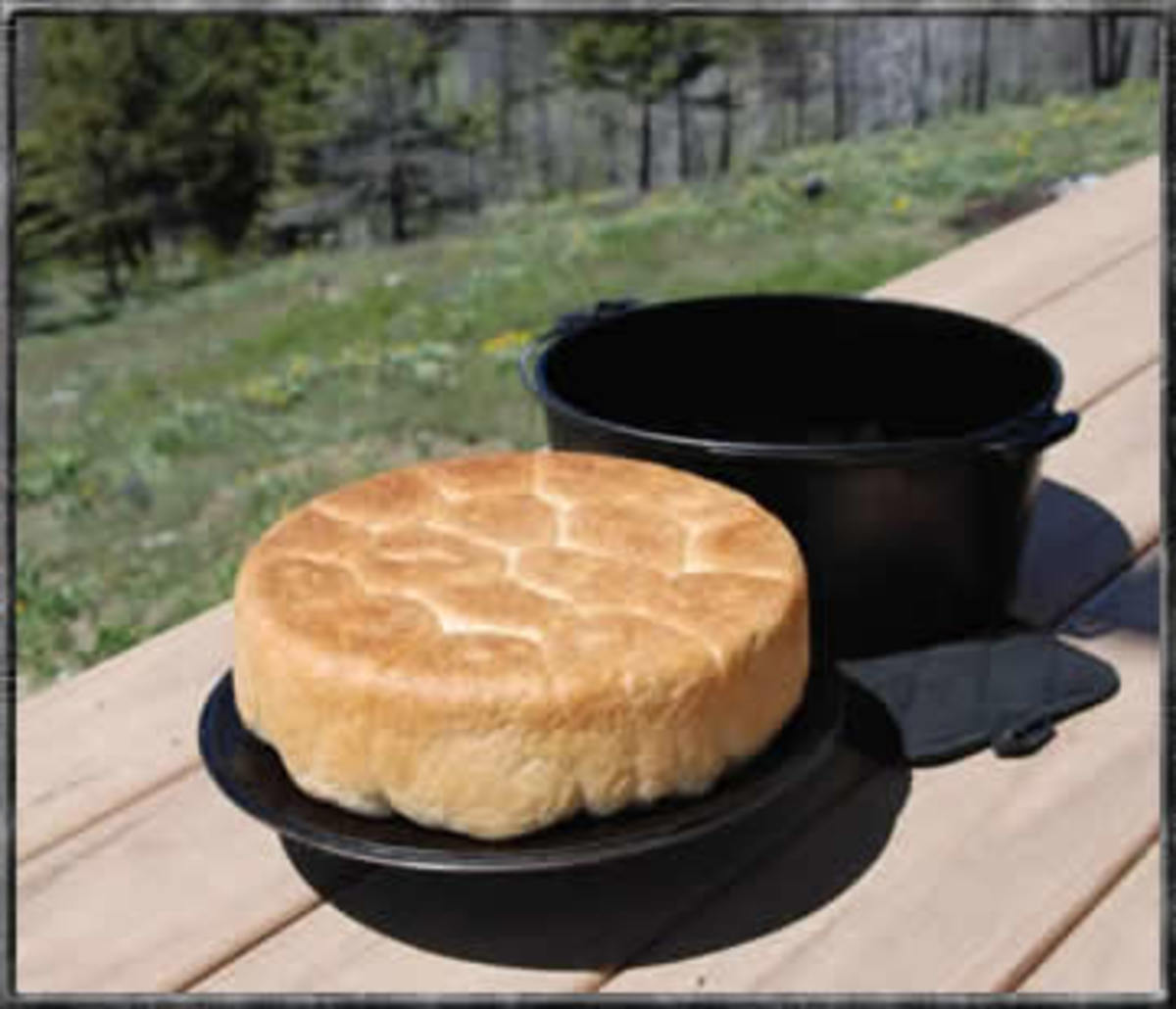 Campfire baking with a cast iron camping Dutch oven
