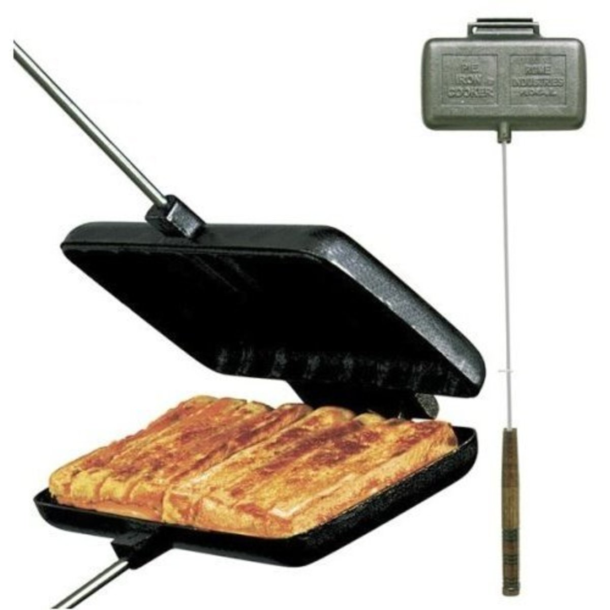 Traditional Camp Lunch - Grilled Cheese sandwich, made with another piece of cast iron cookware - The Pie Iron