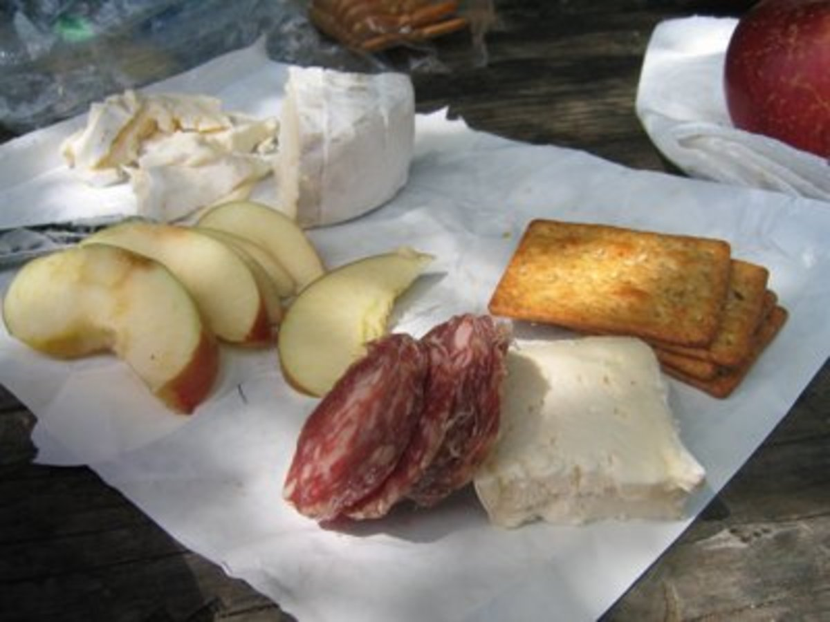 camp lunch fruit and cheese