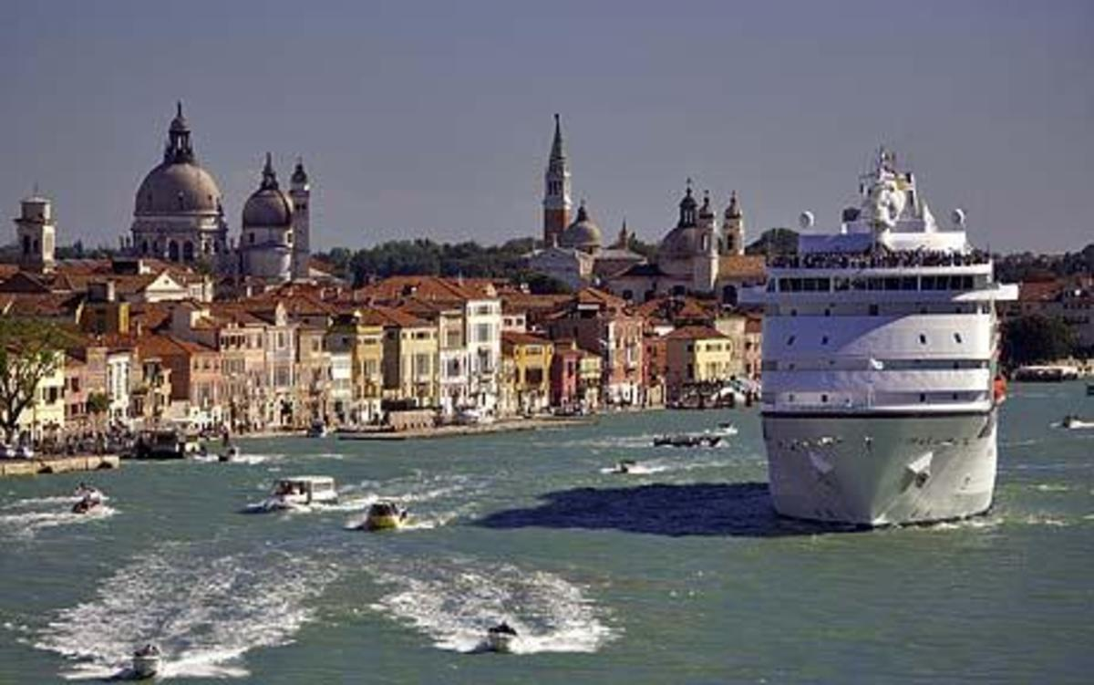Cruise Ship Cruising Past St Marks Square