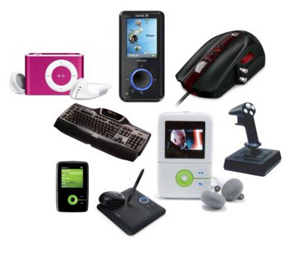 Media Gizmos in service of the Mass media consumer and user: meaning- one person is hooked up in all these gizmos