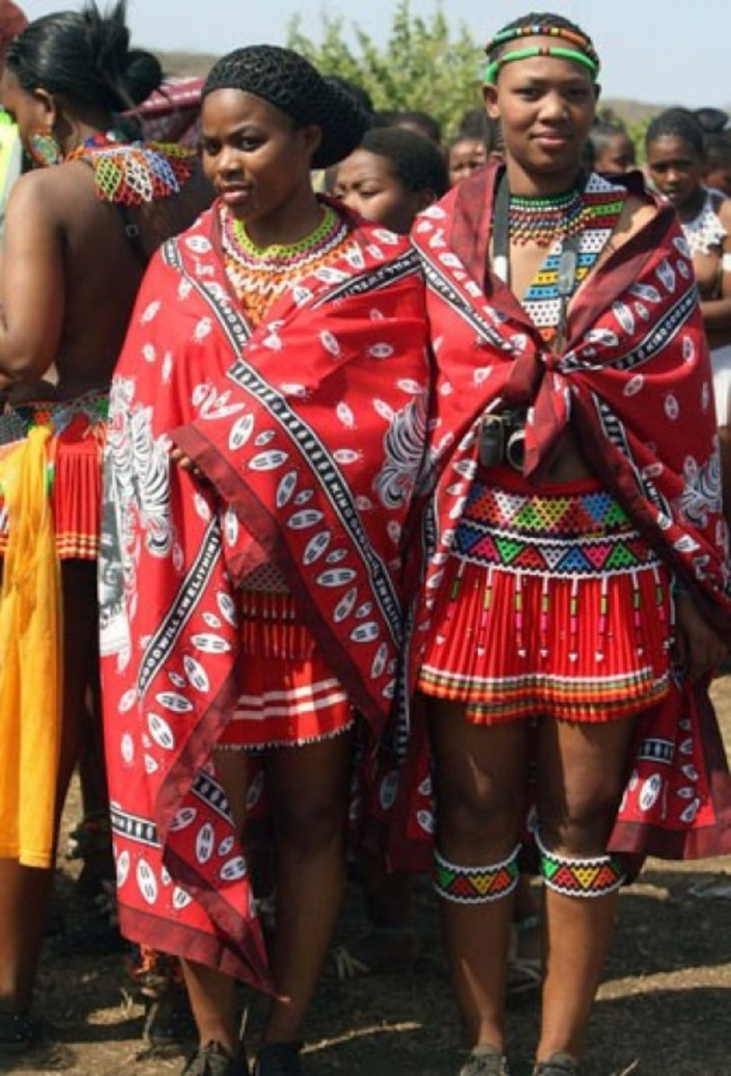 Swazi Girls clad in traditional Garb