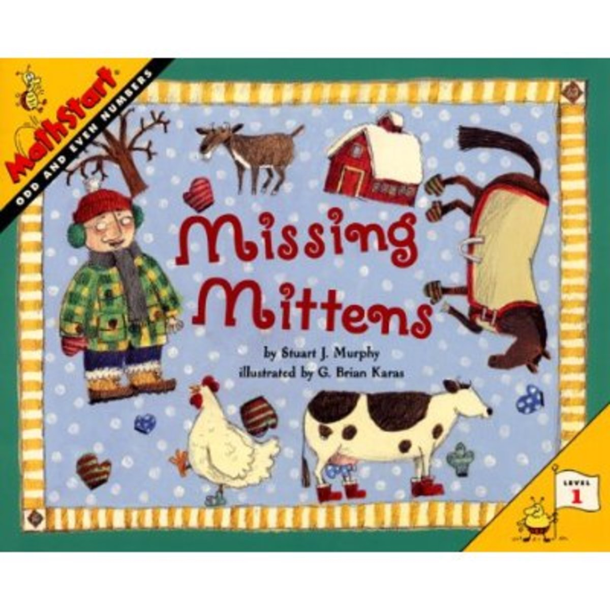 Add this math book to your mitten mayhem. Funny farm animals lose their mittens too. This book teaches the concept of odd and even numbers.