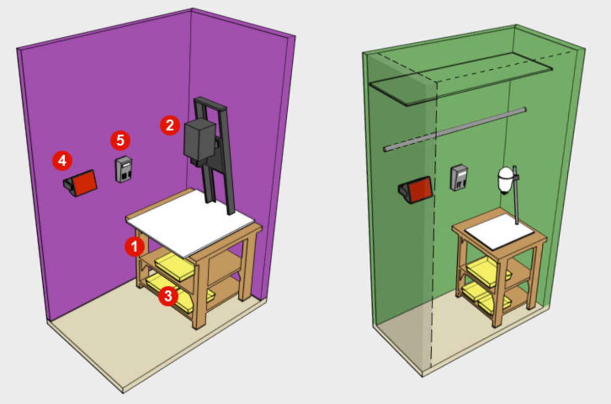 Two darkroom ideas, in the food locker and bedroom closet.