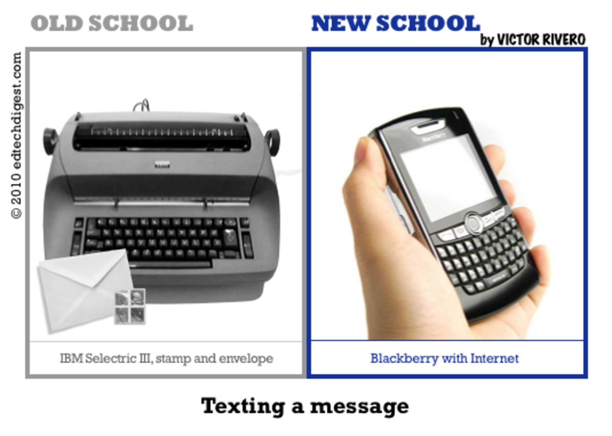 In the olden days, writing on a type writer was considered modern; today, punching on a cell phone and messaging is the new school and new way of sending messages and communicating. Not typing but texting a message