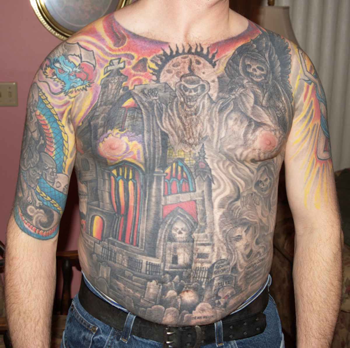 Mikes chest tattoo
