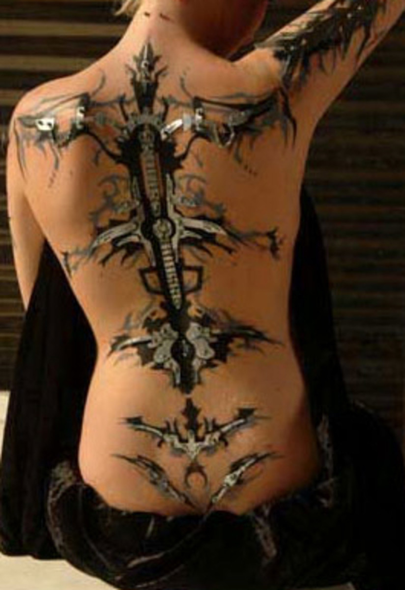 back piercing and tattoo