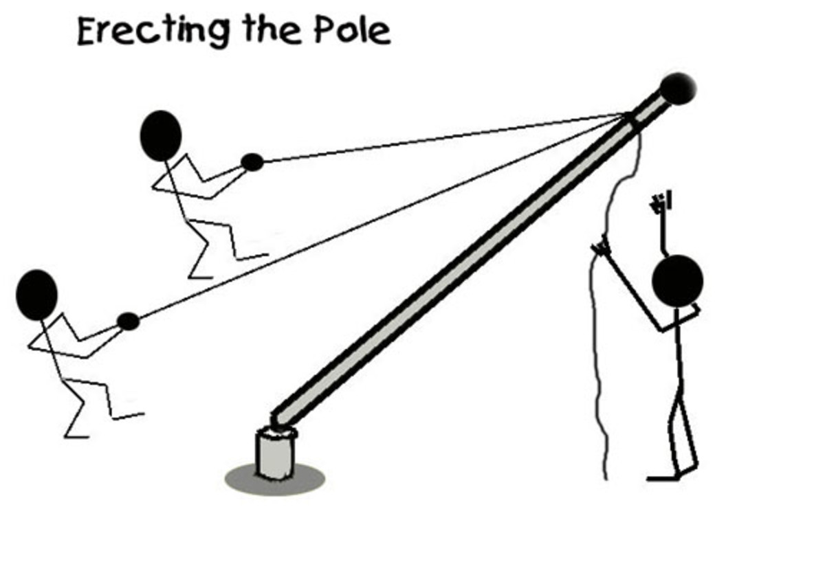 Erect the pole again