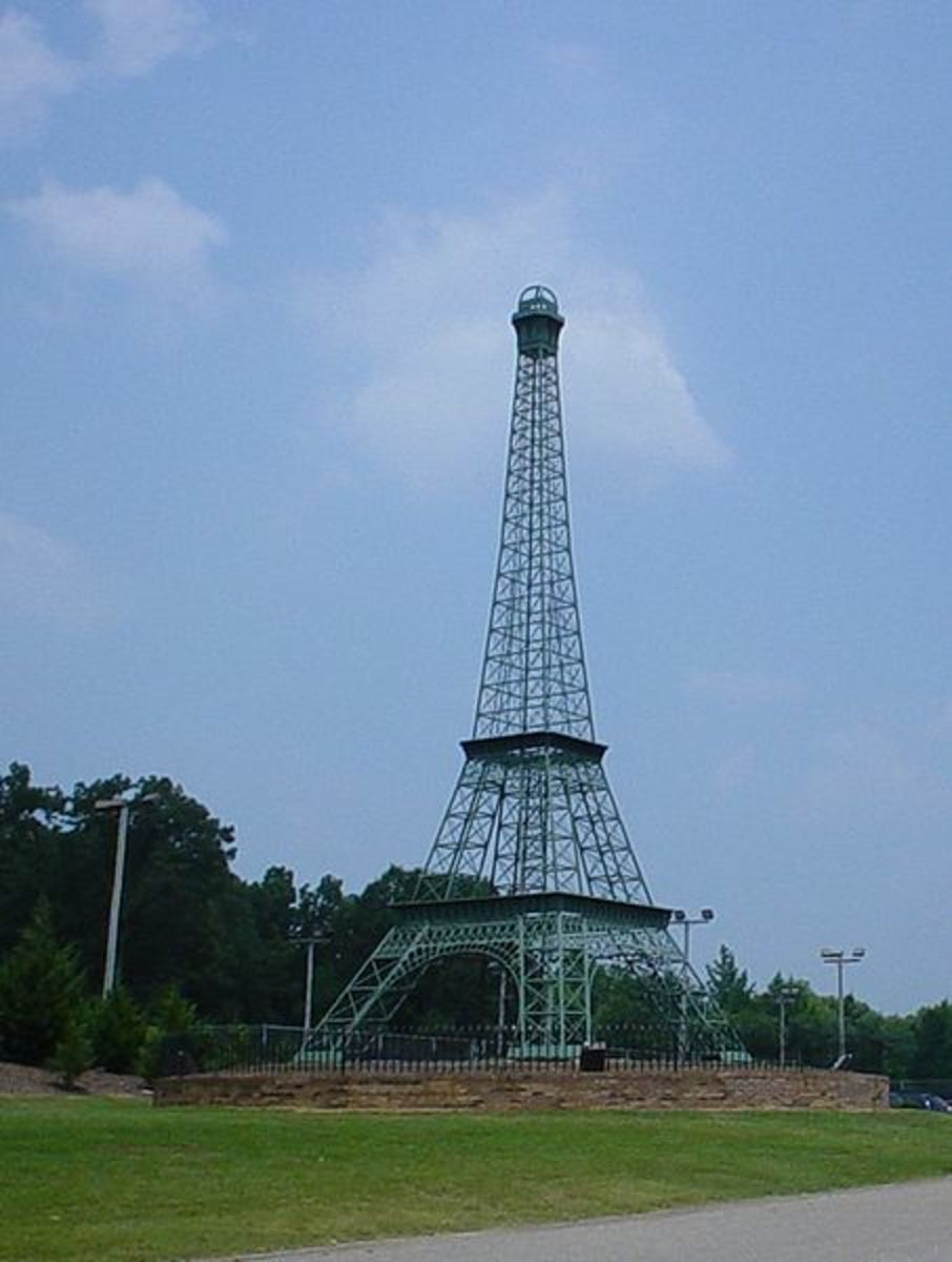Eiffel Tower in Memorial Park in Paris, Tennessee, United States . Park has swimming pools, hiking paths, and tennis courts.