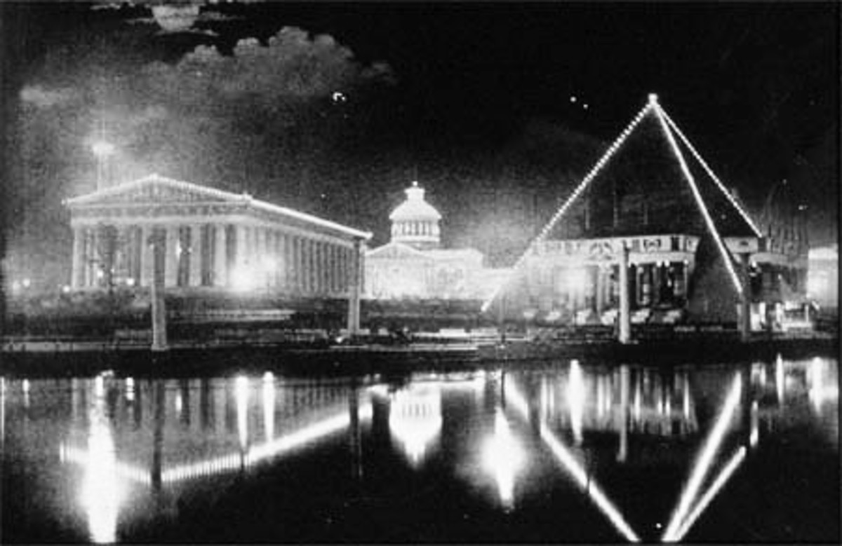 The 1897 Tennessee Centennial Exposition is still remembered and celebrated in museums. This is the Parthenon and Pyramid at the 1897 World's Fair.