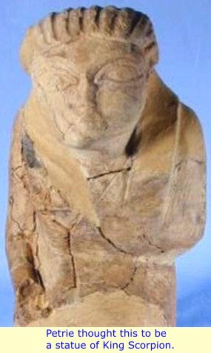 Petrie Thought this to be a statute of King Scorpion or Menes