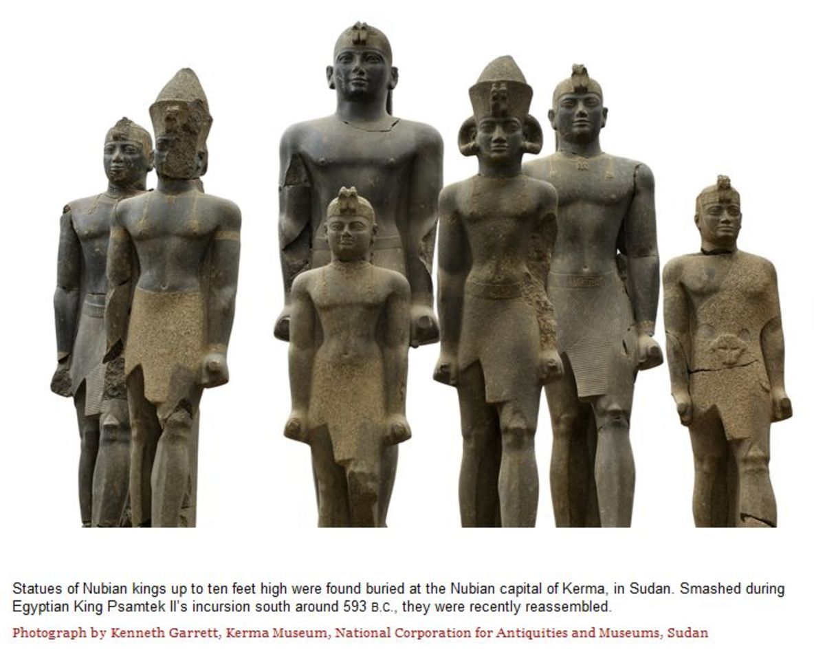 Statues of Nubian kings up to ten feet high were found buried at the Nubian Capital of Kerma, in Sudan. Smashed during Egyptian King Psamtek II's incursion south around 593 B.C., they were recently reassembled- photo by Kenneth Garrett