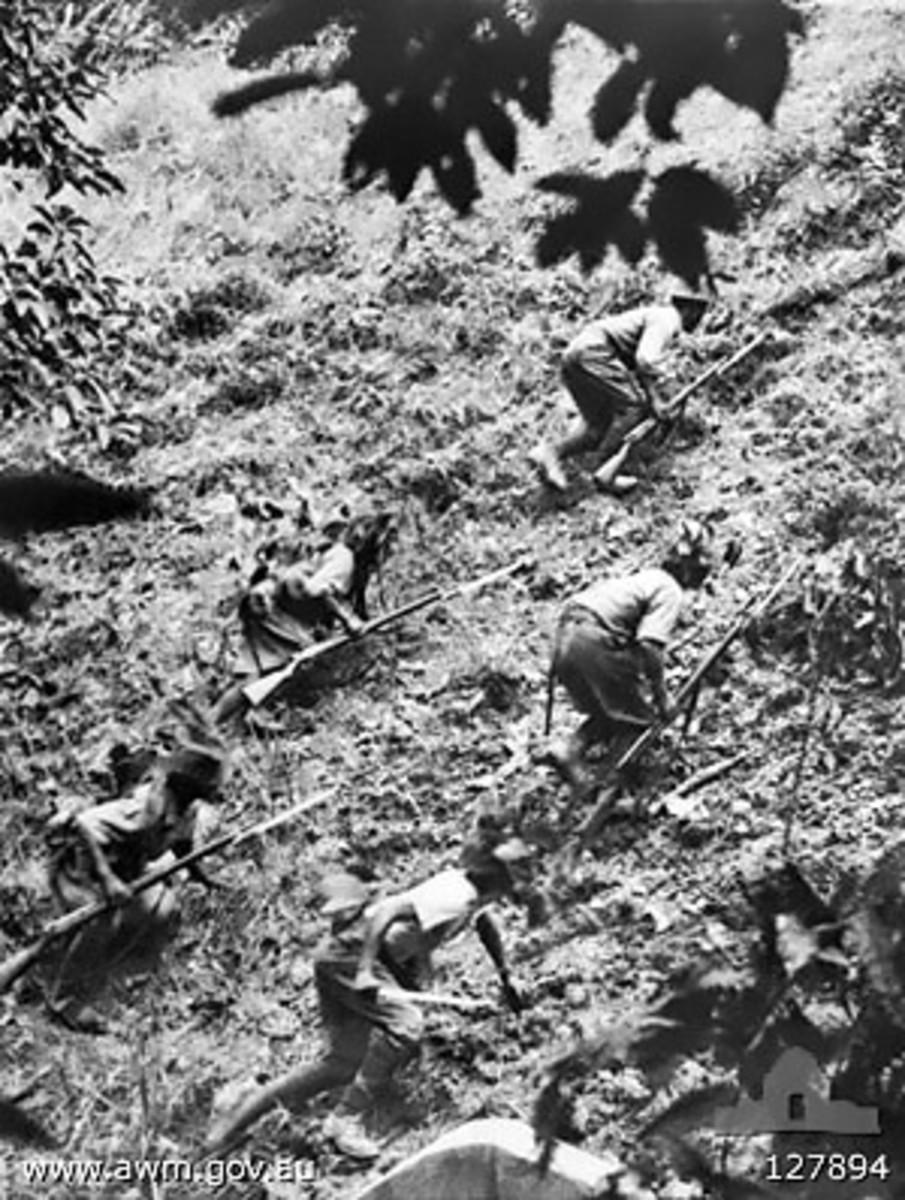 Japan's troops invading British Malaya, January 1942