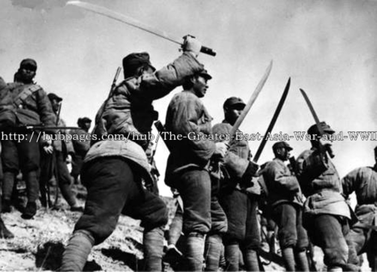 Chinese troops (1933) armed with swords fight against invasion by Japan
