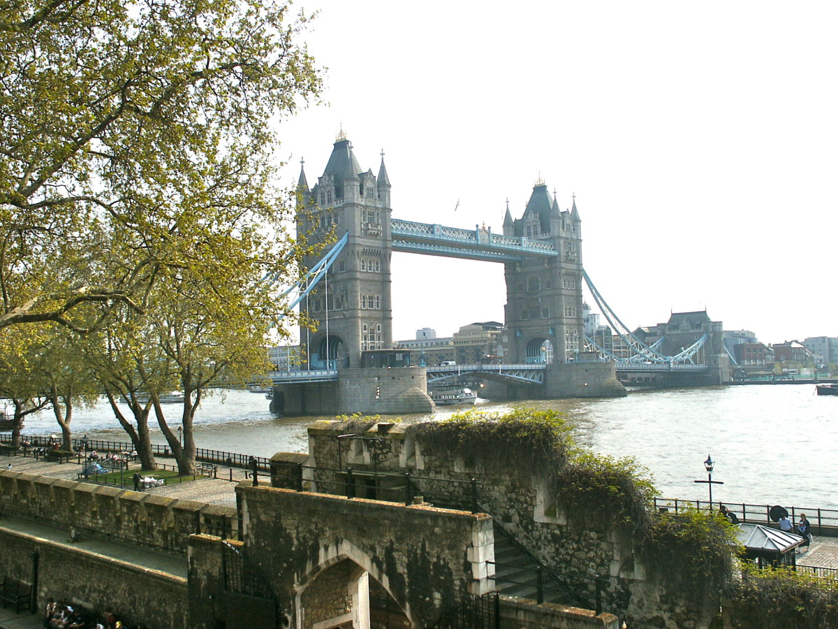 The Tower Bridge in background, Traitor's Gate entrance into the Tower of London in foreground.