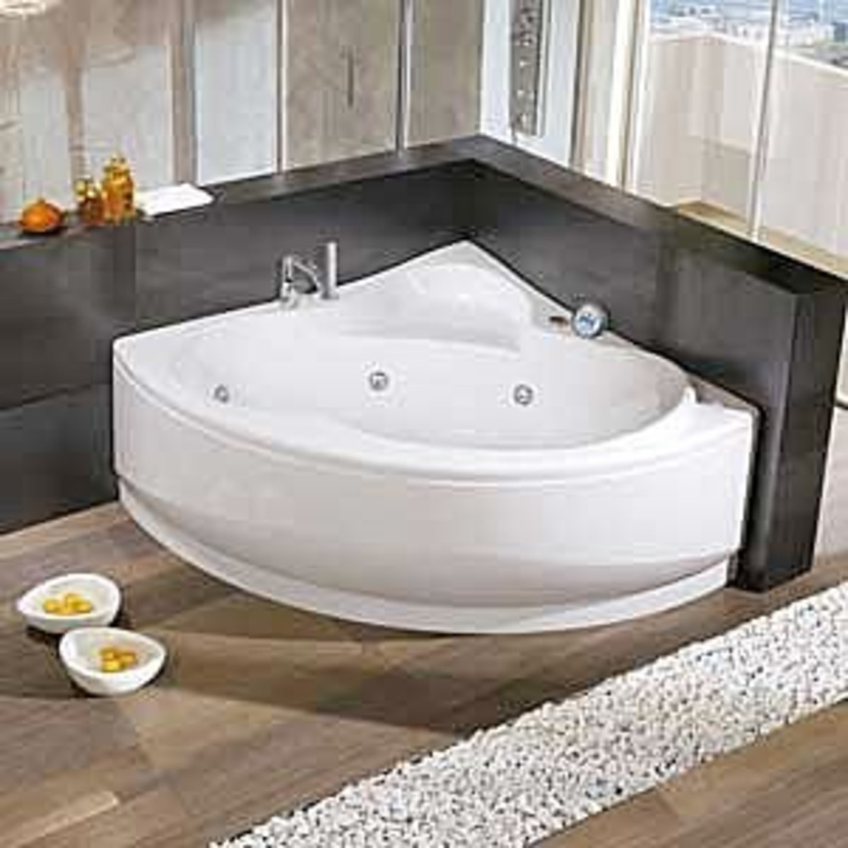 Freestanding bathtubs are available in a pie-wedge shape.