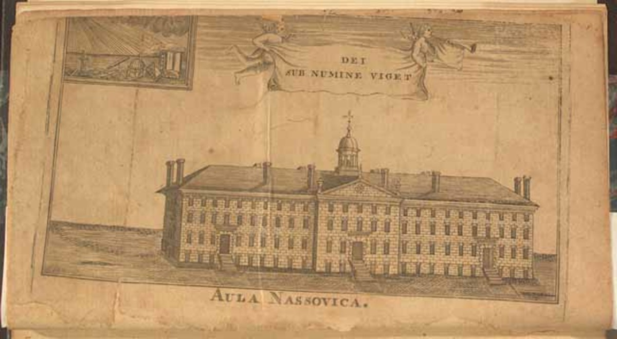 """This is the principal building of the College of New Jersey in 1764 """"Aula Nassovica,"""" (Nassau Hall). This image belongs to a fundraising brochure for the college/Source: Library of Congress' Exhibition """"Religion and the Founding of American Republic"""