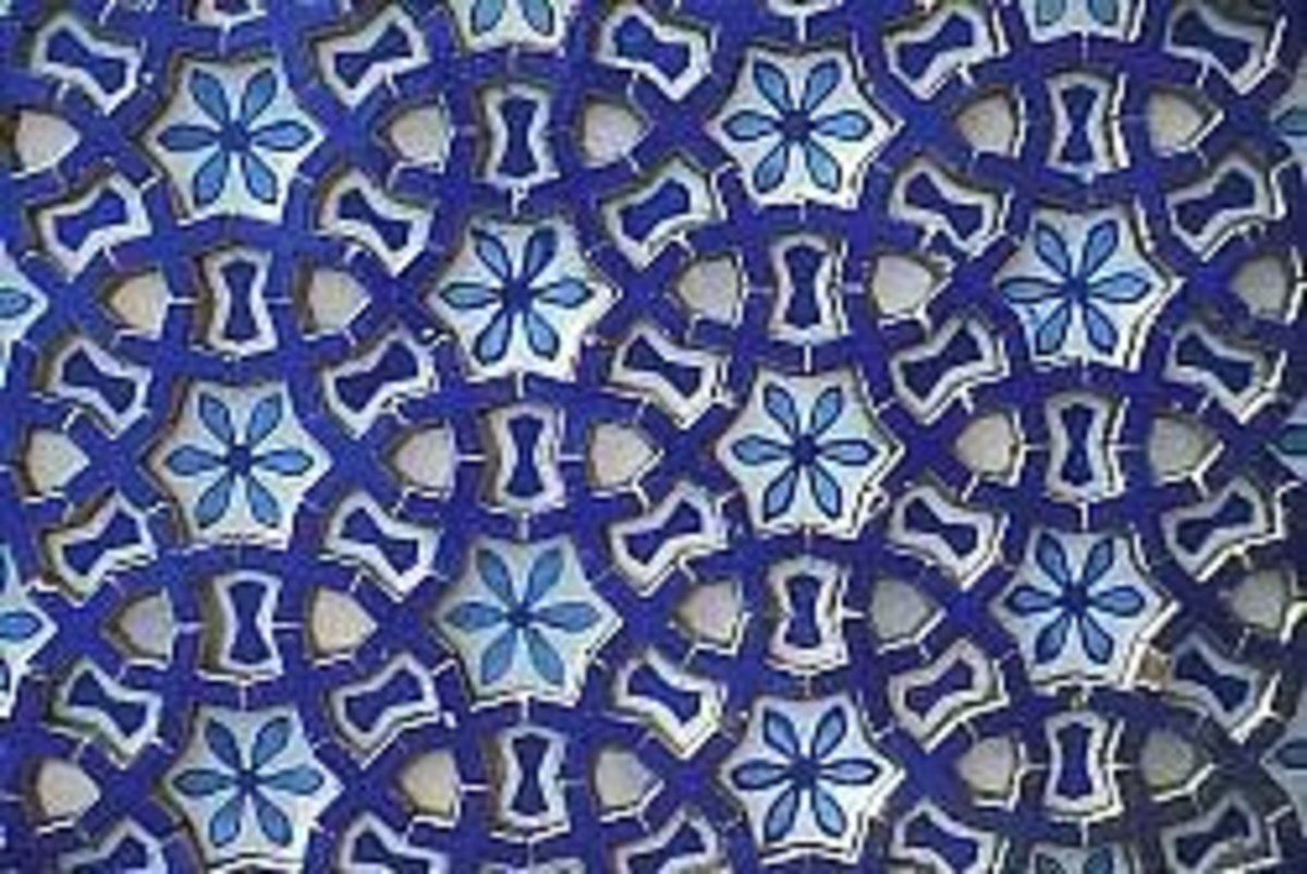 A close up of one of the tiles of the shrine.