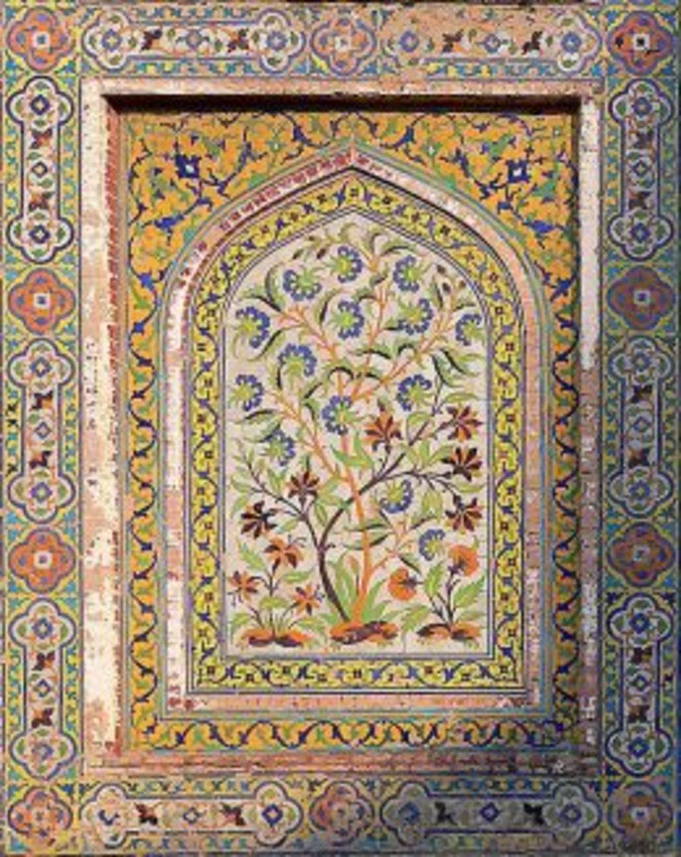 Tiles on the walls of Wazir Khan Mosque