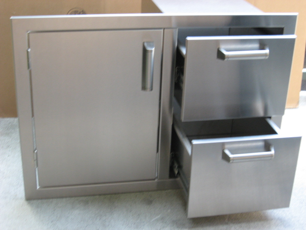 outdoor kitchen built in door, drawer with lp gas tank slider