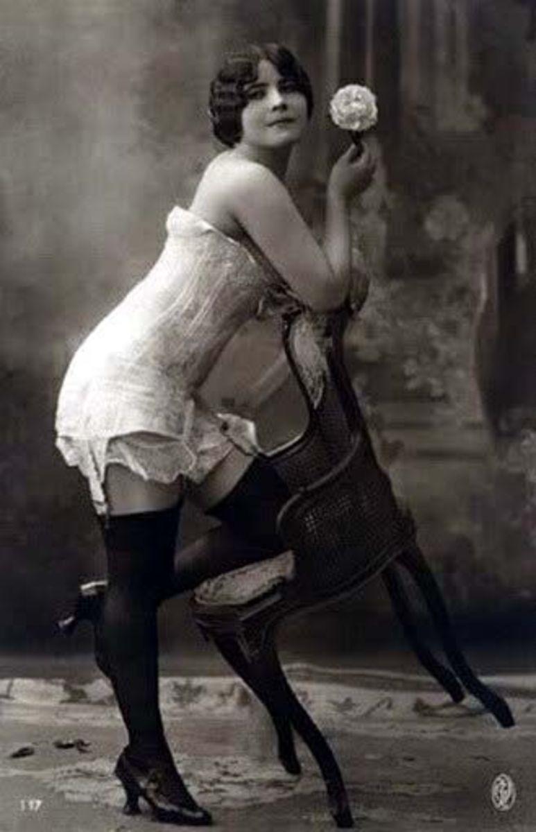 sexy corset pose