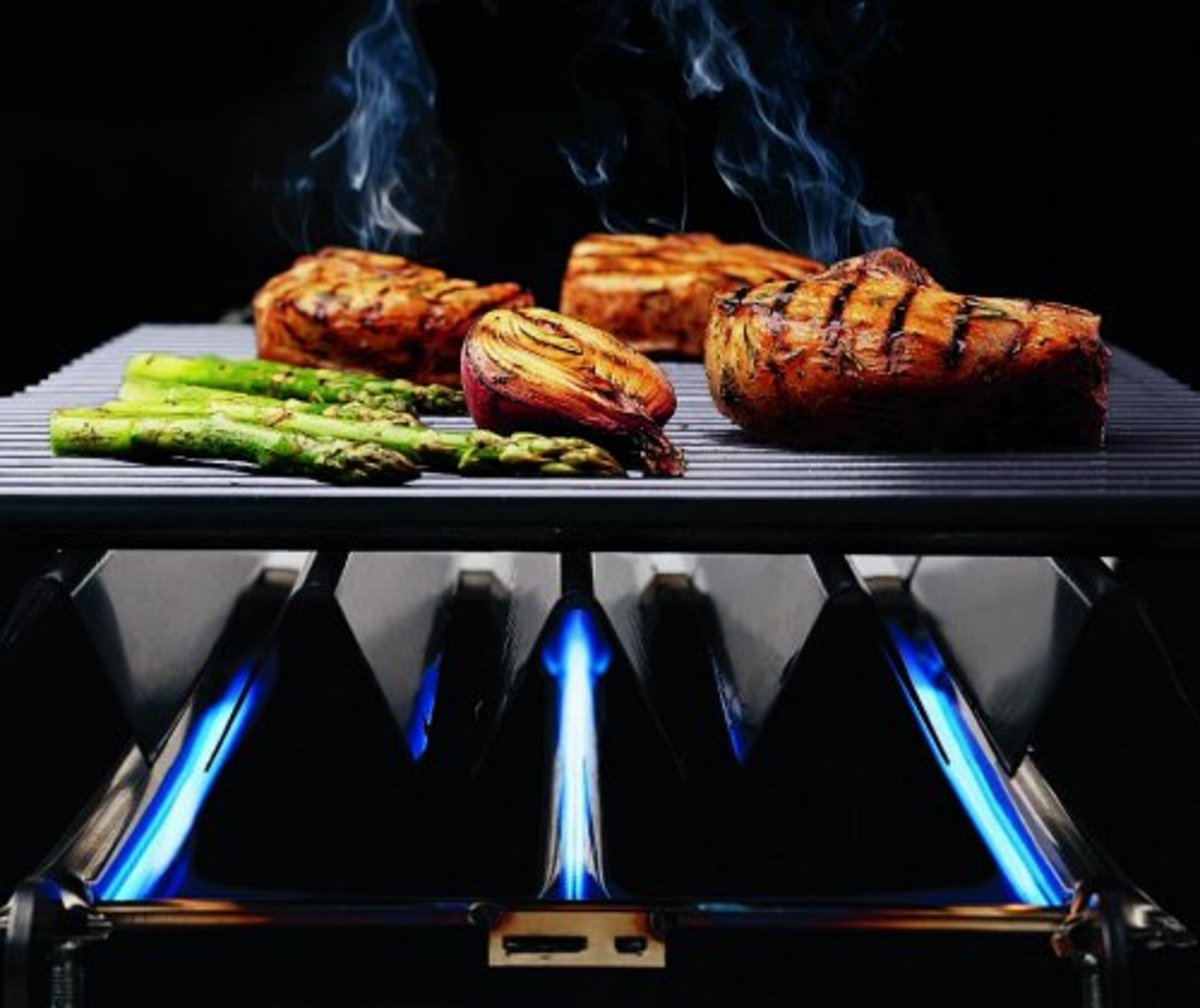 Use all three gas burners for direct heat cooking.