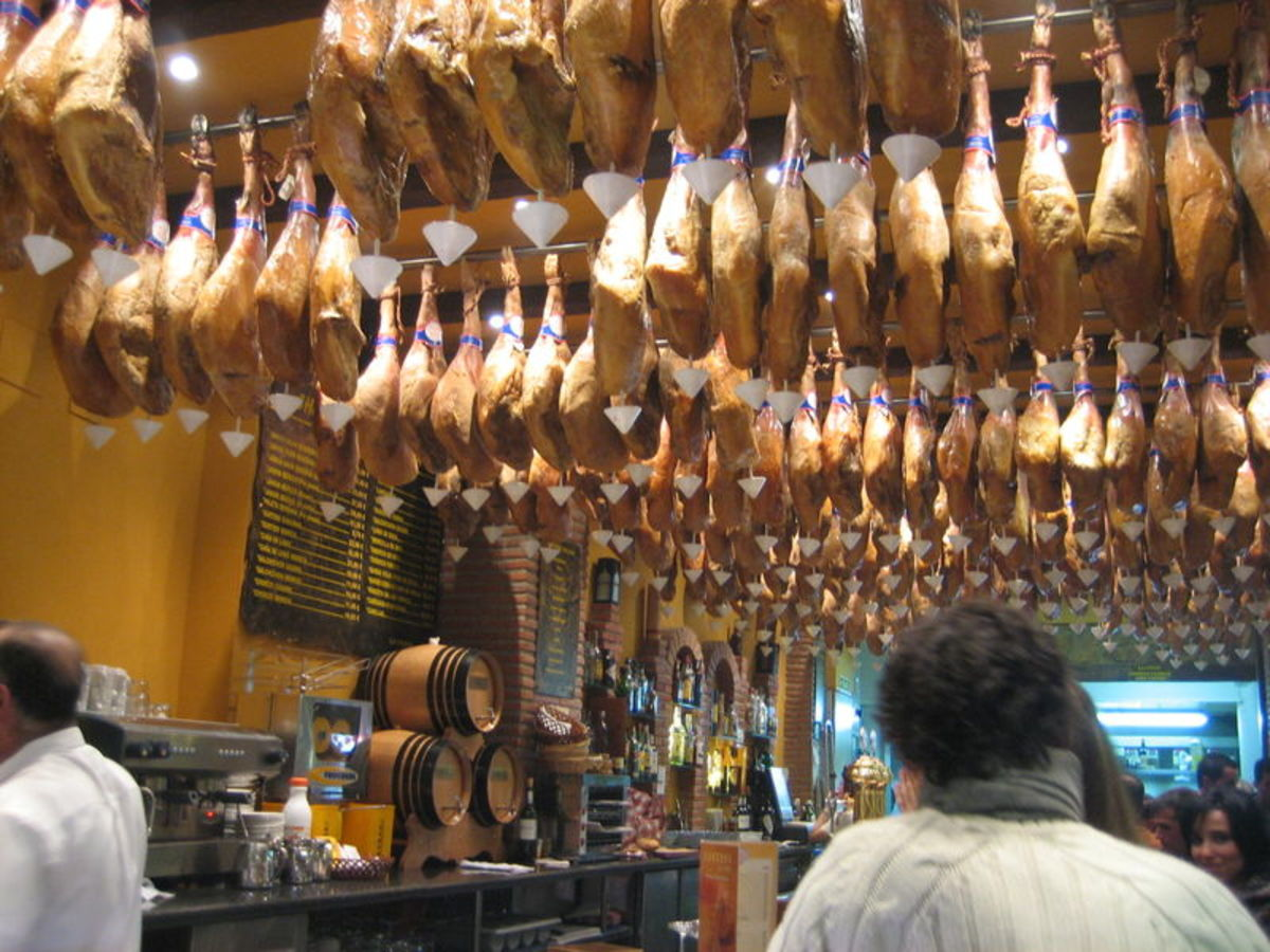 Jamon Iberica is a national treasure, the pigs are fed in holm oak forests for four years and gorge on acorns giving the jamon a wonderful and unique taste and texture...
