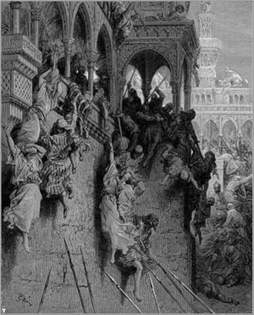 MASSACRE AT ANTIOCH ENGRAVING BY GUSTAVE DORE