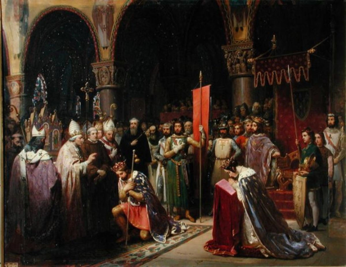 KING LOUIS VII WITH QUEEN ELEANOR OF AQUITAINE & POPE EUGENE III PAINTED BY MAUZAISSE