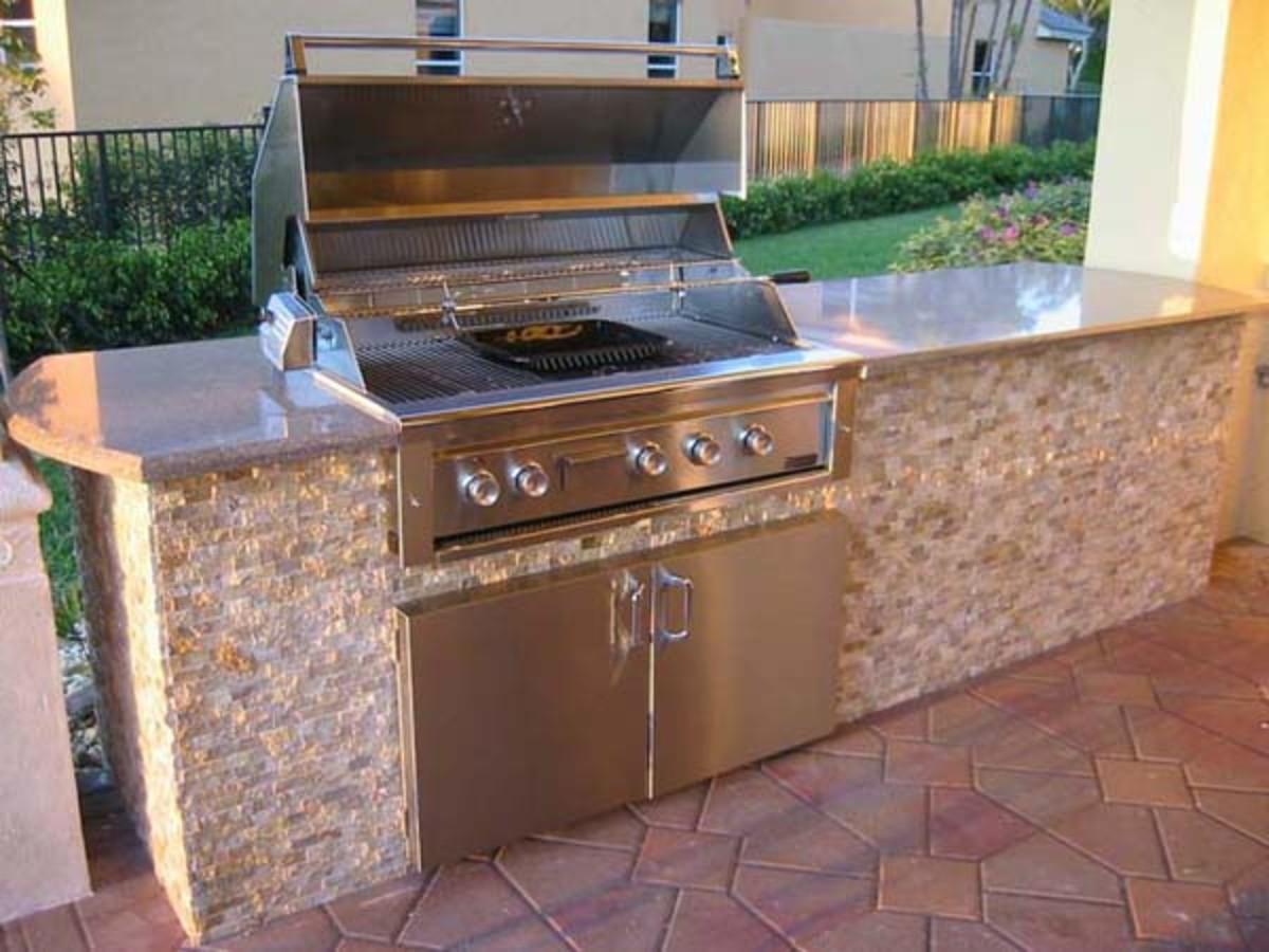 Straight counter grill island design