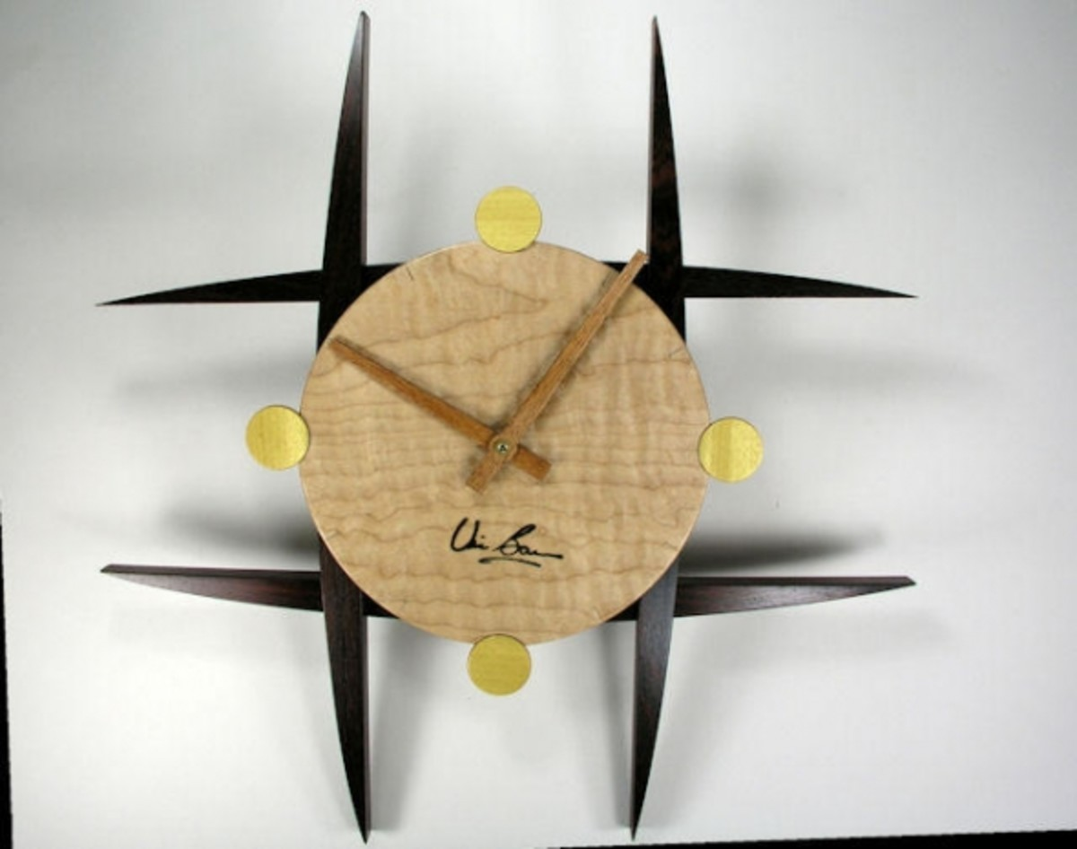 Cocobolo, figured maple, yellowheart clock