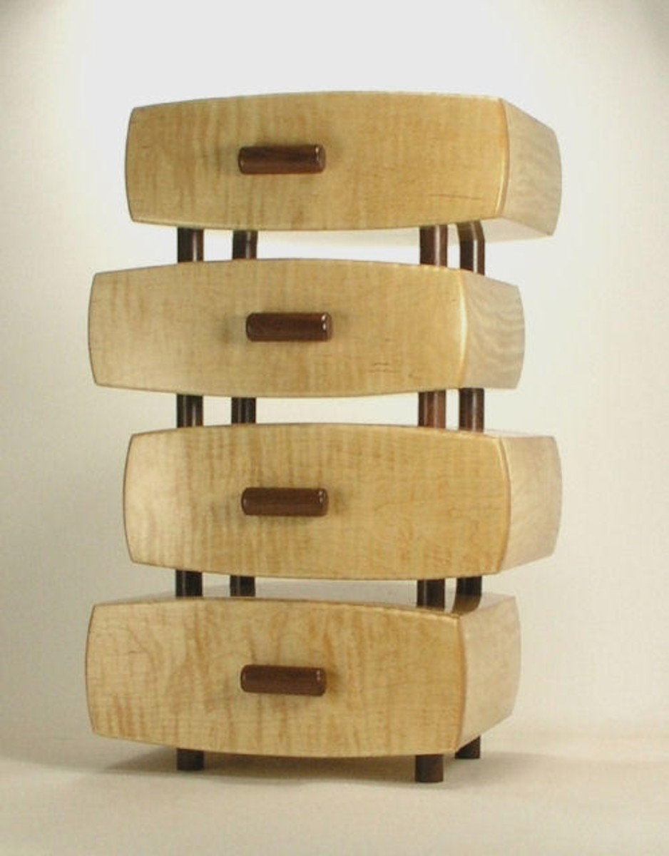 Curly Maple and rosewood 4-tier