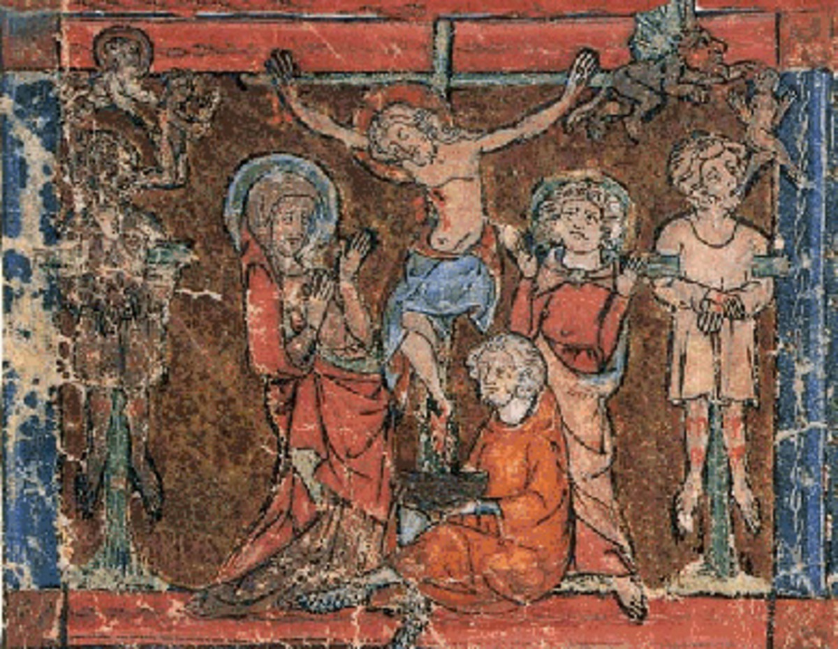 The Grail catches the blood of Christ in this 14th c. illustration