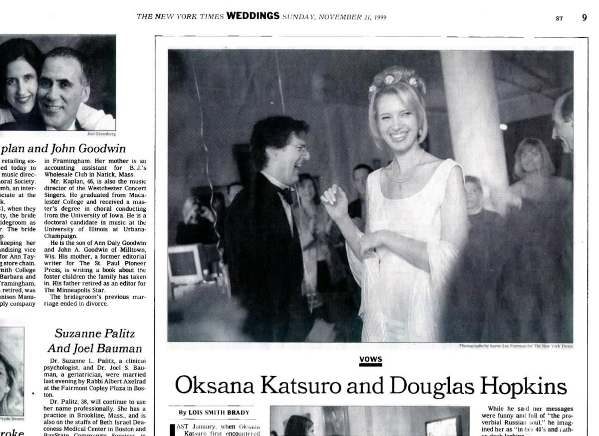 """""""Vows"""" feature in Sunday New York Times"""