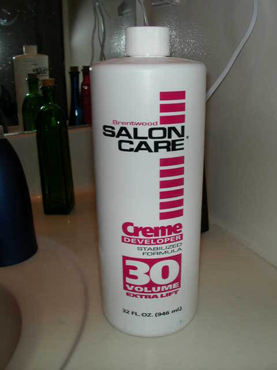 A hydrogen peroxide cosmetic product used in salons