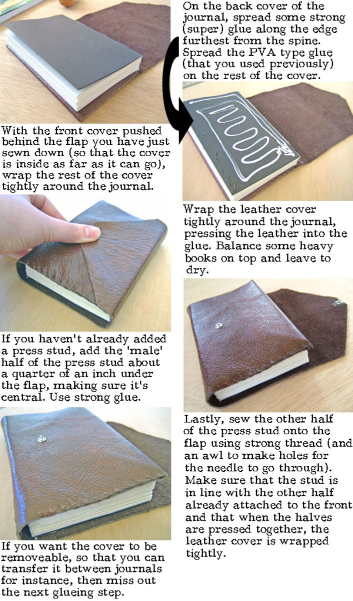 How To Wrap A Book Cover In Paper : How to make a leather journal book binding tutorial