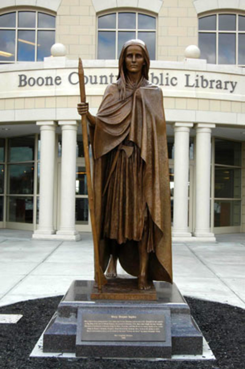 A statue of Mary Draper Ingles stands in front of the Boone County (Kentucky) Library, near Big Bone Lick